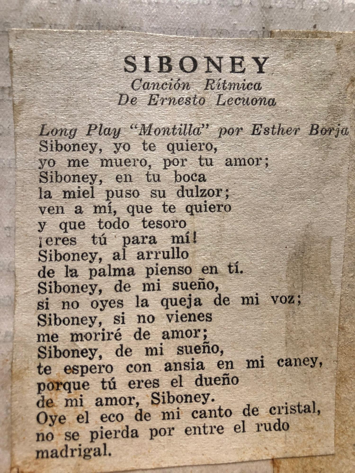Siboney Original Lyrics